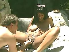 Wild sex with ebony on wild nature