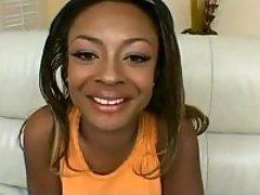 Cheery ebony shows her yummy peach